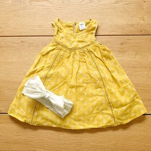 Old Navy Yellow and White Tank Dress with Headband